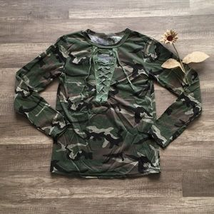 ⚡️New Item In! Camo Lace Up Long Sleeve Shirt